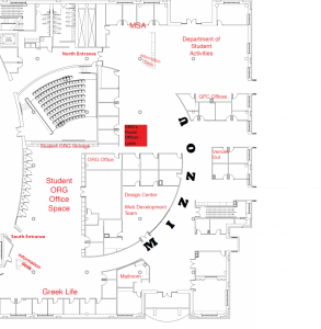 Map of the Center for Student Involvement