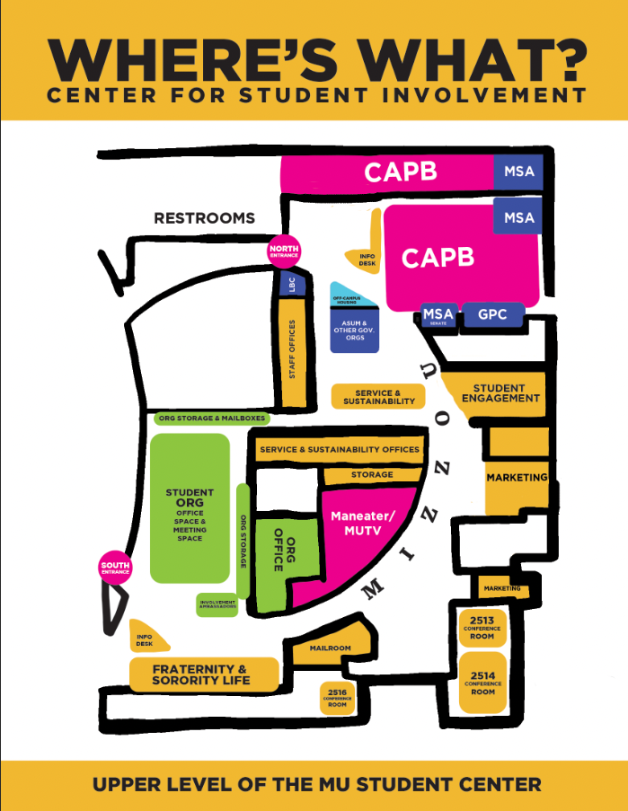 Map of the MU Center for Student Involvement